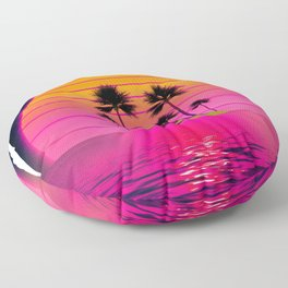 Synthwave Retro 80s Sunset Beach Island with palms Gift design Floor Pillow
