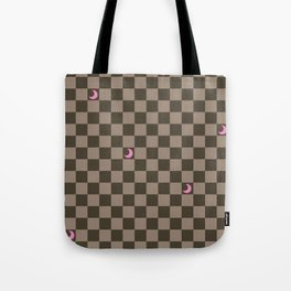Brown Check with Light Pink Crescent Moons Tote Bag