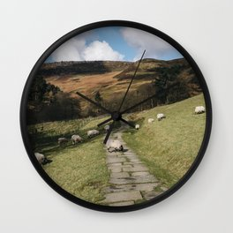 Stone footpath and grazing sheep. Edale, Derbyshire, UK. Wall Clock
