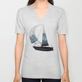 Sky and Ocean V / Watercolor Painting Unisex V-Neck