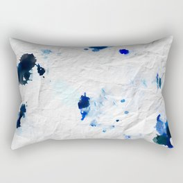 Accidental Blue and Black Ink Spot Abstract Art Rectangular Pillow