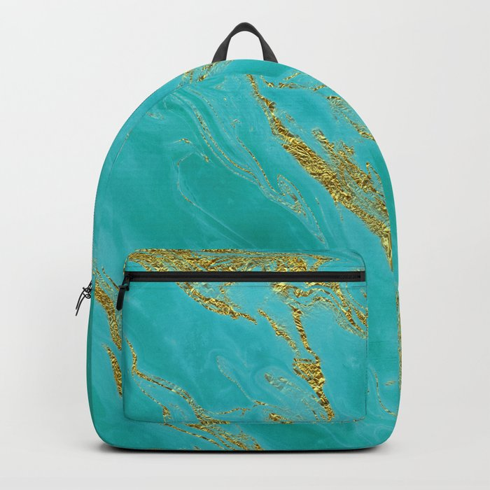 Luxury and glamorous gold glitter on aqua Sea marble Backpack