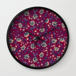 Watercolor Peonies - Ruby Red Wall Clock