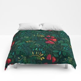 Reds and Greens Petals and Leaves Comforters