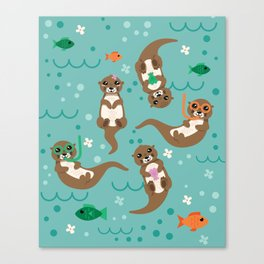 Kawaii Otters Playing Underwater Canvas Print