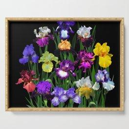Iris Garden - on black Serving Tray