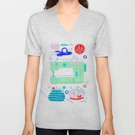 Sewing Machine & Crafting Supplies Unisex V-Neck