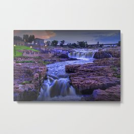 Cascading Waterfalls at sunset in Sioux Falls South Dakota Metal Print
