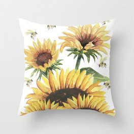 Sunflowers and Honey Bees Throw Pillow