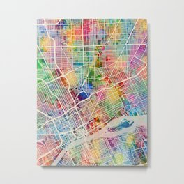 Detroit Michigan City Map Metal Print