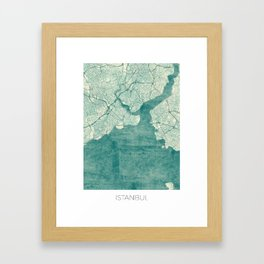 Istanbul Map Blue Vintage Framed Art Print
