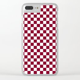 White and Burgundy Red Checkerboard Clear iPhone Case