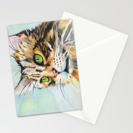 Watercolor Cat 08 Green Eyes Cat Stationery Cards