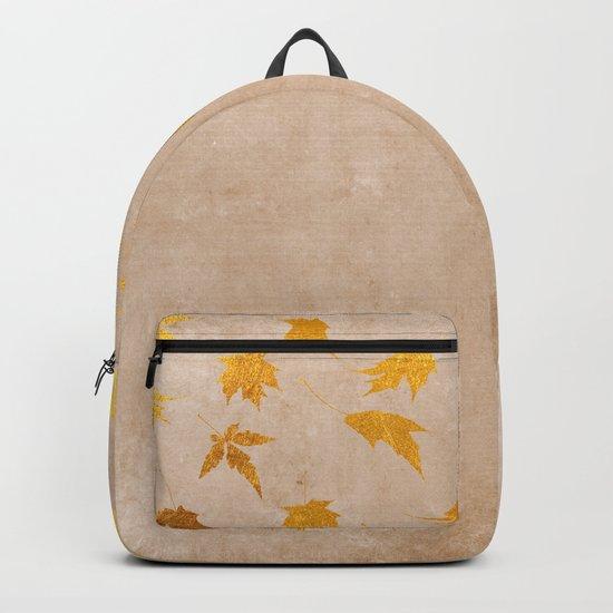Gold leaves on grunge background - Autumn Sparkle Glitter design #Society6 Backpack