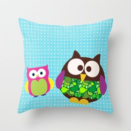 new owl/color Throw Pillow