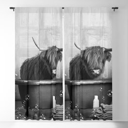 Highland Cow in the Tub Blackout Curtain