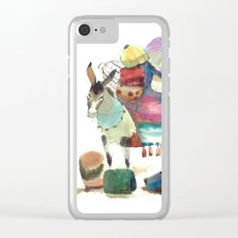 Watercolor cute donkey kids illustration Clear iPhone Case