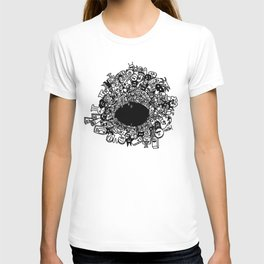 Monsters falling in hole, doodle art T-shirt