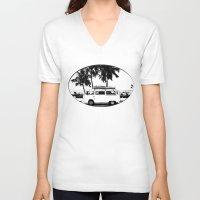 volkswagon V-neck T-shirts featuring Vintage Beach Van  by kishbish