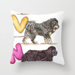 Dogs with Balloons Throw Pillow