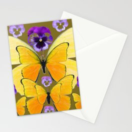SPRING PURPLE PANSY FLOWERS & YELLOW BUTTERFLIES GARDEN Stationery Cards