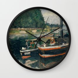 Camille Pissarro - Barges at Pontoise (1876) Wall Clock