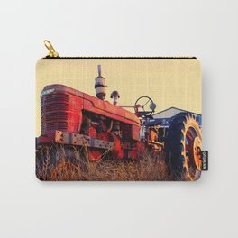 old tractor red machine vintage Carry-All Pouch