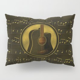 Golden  Acoustic Guitar on notes pattern Pillow Sham