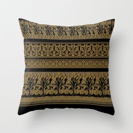 Black Brown Frett Work Throw Pillow