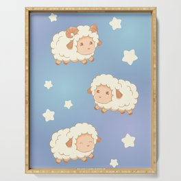 Cute Little Sheep on Blue Serving Tray