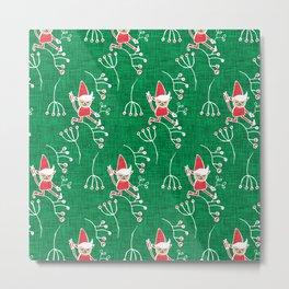 Santa Little Helper Green #Holiday #Christmas Metal Print