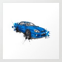 subaru Art Prints featuring Subaru Impreza by Claeys Jelle Automotive Artwork