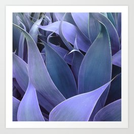 Abstract Leaves Periwinkle Teal Art Print