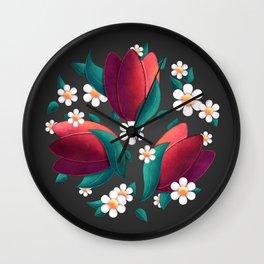 Bouquet (Tulipes et Marguerittes) Noir Wall Clock