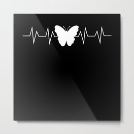 Butterfly Heartbeat Pulse Gift Metal Print