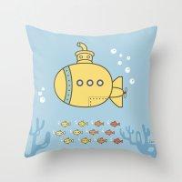 yellow submarine Throw Pillows featuring Yellow Submarine by Brenda Figueroa Illustration