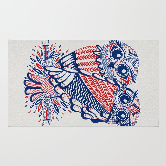 Owls – Red & Navy Rug