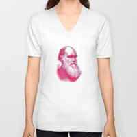 darwin V-neck T-shirts featuring Charles Darwin by axlandersson