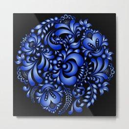 Gzhel black pattern Metal Print