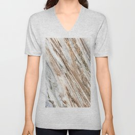 Marble Slab Texture // Gold Silver Black Gray White Stripes Luxury Rugged Rustic Rock Unisex V-Neck