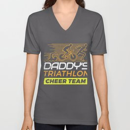 Daddys Cheer Team Triathlon  Unisex V-Neck