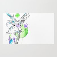 stag Area & Throw Rugs featuring Stag by Little Lost Forest