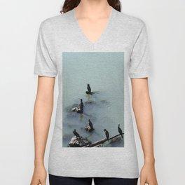 Cormorants Birds on the River Unisex V-Neck