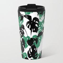 Monstera cheese plant linocut pattern minimal black and white house plants Travel Mug
