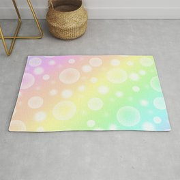 Pastel Rainbow Gradient With Bubbles! Rug