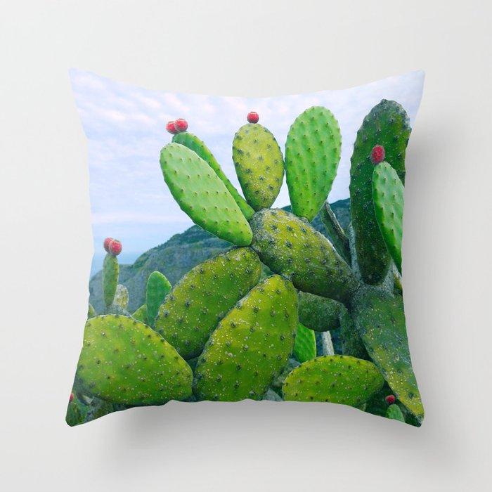 Blooming cacti Throw Pillow