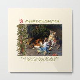 CHRISTMAS GREETINGS for Naughty Cats Metal Print