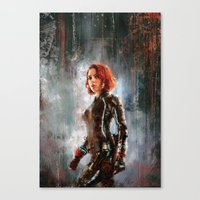 black widow Canvas Prints featuring Black Widow by Wisesnail