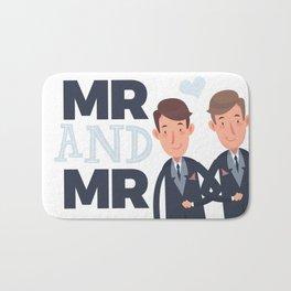 Mr and Mr gay wedding Bath Mat