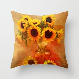 Sunflower Splashes Throw Pillow